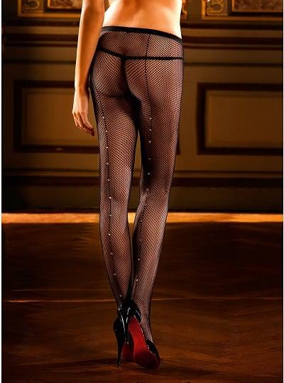 Collants Résille Noire avec Couture et Strass