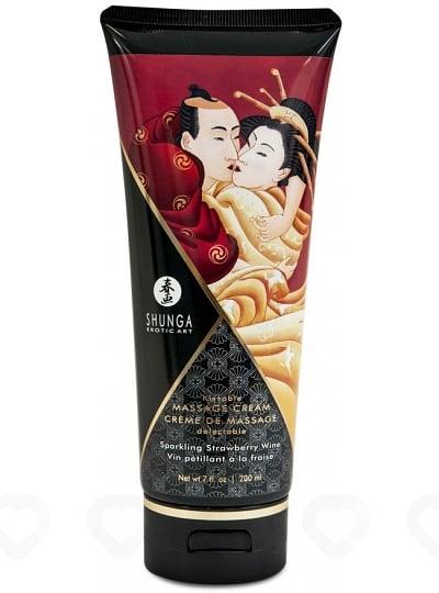 Crème de Massage Délectable Shunga - Fraise / Vin pétillant