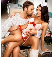 Costumes Sexy Costume d'Infirmière Déshabillé Blanc et Rouge