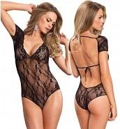 Lingerie Coquine Grandes Tailles Body Noir Manches Courtes en Dentelle Transparente