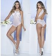 Body Sexy Body Blanc Voile et Dentelle Dos Nu 7108