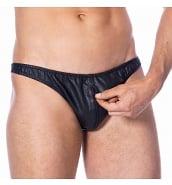 Promotions Slip Homme en Cuir Véritable Noir avec Fermeture Zippée