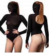 Body Sexy Body-String Noir à Perles Manches Longues et Cagoule Kink