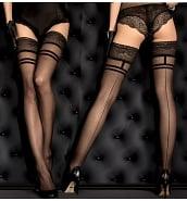 Bas Couture Autofixants Résille Noire Double Jarretière